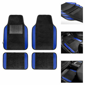 4pcs Set Universal Fit Car Vinyl Heel Pad Carpet Floor Mats Black Blue