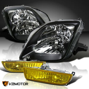 Fits 1997 2001 Honda Prelude Black Headlights Pair Yellow Fog Lamps Switch