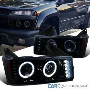 For 04 12 Chevy Colorado Gmc Canyon Glossy Black Led Halo Projector Headlights