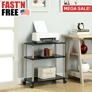 Small Computer Desk Table Stand Workstation Laptop Printer Cart Rolling Office