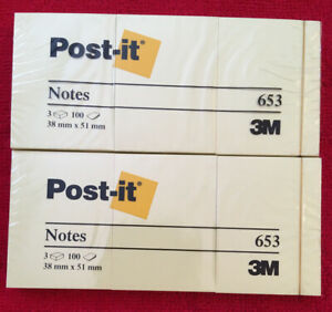Lot Of 6 Post it 3m Notes 1 1 2 X 2 In Canary Yellow 6x100 sheets Total 600