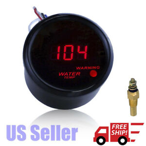2 52mm Red Digital Led Electronic Water Temperature Gauge Fahrenheit