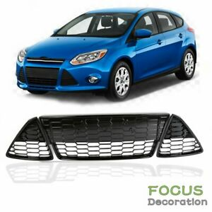 Fit 2012 2013 2014 Ford Focus Front Bumper Lower Grille Honeycomb 3pcs