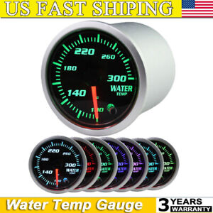 2 Coolant Water Temp Gauge Thermo 100 300 Fahrenheit Meter 1 8 Npt 7 Led Color
