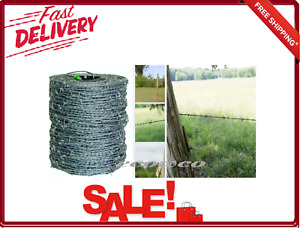 Barbed Wire Fence 4 point High tensile 1 320 Ft With Metal Carrier 15 5 Gauge