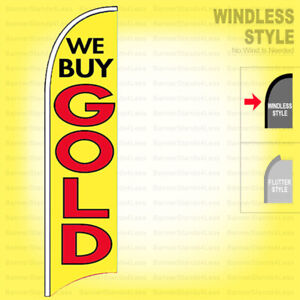 We Buy Gold Windless Swooper Flag 2 5x11 5 Ft Tall Feather Banner Sign Yb