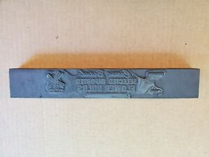 Vtg Copper Wood Printing Press Plate Block Stamp Crown Bulbs Yonkers Ny Ad