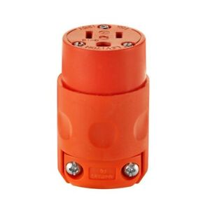 Connector Orange Replacement Female Plug For Extension Cord 15 Amp 125 v 3 wire