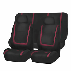 Car Seat Covers Burgundy Black Full Set For Auto Truck Suv With Head Rests