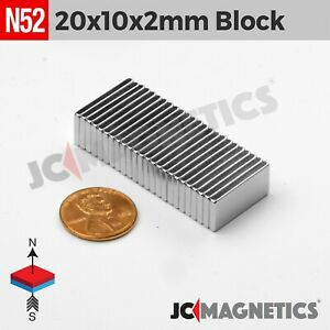 20mm X 10mm X 2mm N52 Thin Strong Rare Earth Neodymium Craft Fridge Magnet Block