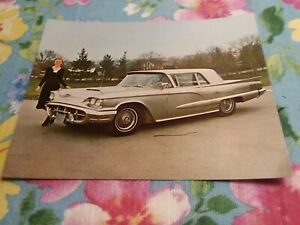 1960 Ford T Bird Thunderbird Stainless Steel 5 1 2 7 Dealer Promo Postcard