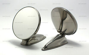Pair Of 4 25 Durant Stainless Steel Mirror Reproduction Porsche 356 911 912