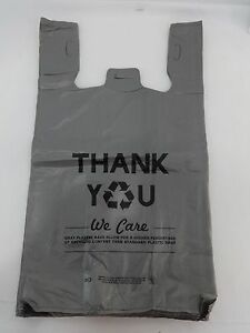 Grey Thank You Eco Friendly Plastic T shirt Bags 11 5 X 6 X 21 Bags Only