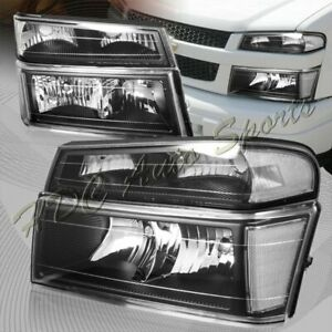 For 2004 2012 Chevy Colorado Black Headlights Bumper Lamp W Clear Reflector 4pcs