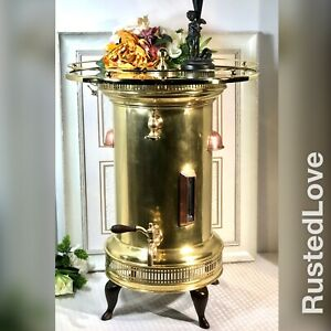 Antique Lg Brass Copper Hot Water Urn 1890 S Coffee Pot Hotel Bar End Table