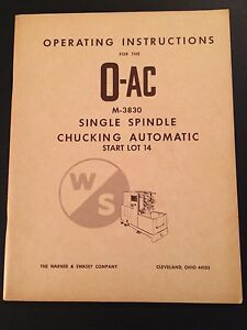 Operation Manual O ac Single Spindle Chucking Automatic M 3830 By Warner