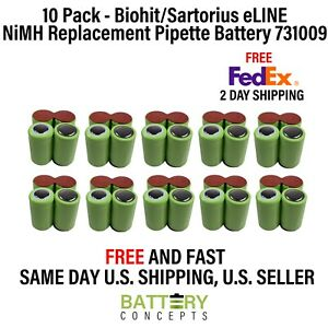 New 10 Pack Biohit sartorius Eline Nimh Replacement Pipette Battery 731009