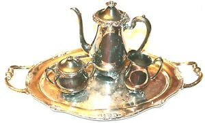 Vtg 1881 Rogers Glenrose Silverplate Silver Plated Serving Tray 5 Pc Tea Set