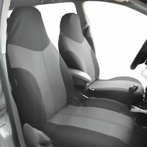 Highback Front Bucket Seat Covers For Car Suv Auto Van 2 Tone Gray
