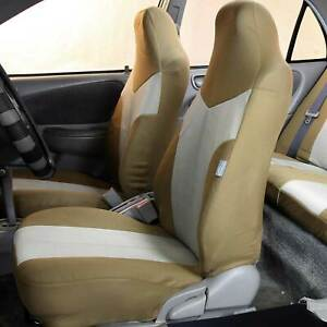 Highback Front Bucket Seat Covers For Auto Car Suv Van 2 Tone Beige
