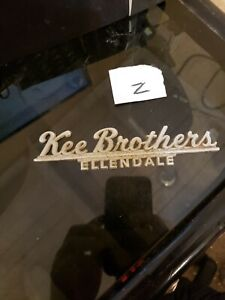 Vintage Kee Brothers Ellendale Car Dealership Metal Emblem Nameplate