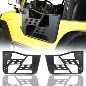 Black Steel 2x Half Tubular Door Guards Left Right For 97 06 Jeep Wrangler Tj