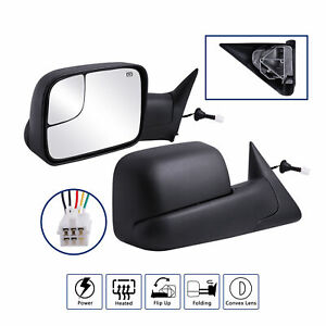 Pair Fit For 1998 2001 Dodge Ram 1500 2500 Flip up Power heated Towing Mirrors