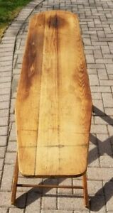 Antique Vintage Wooden Ironing Board With Folding Legs 55 X 14