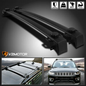2017 2018 Jeep Compass Black Aluminum Roof Rack Cross Bar Luggage Cargo Carrier
