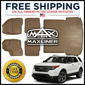 Maxliner 1st 2nd Cargo Floor Mats Tan For 2011 2014 Explorer W O 2nd Row Console