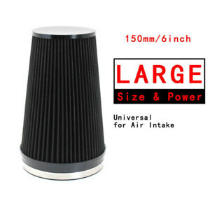 6 Black Car Short Performance High Flow Cold Air Intake Cone Filter Universal