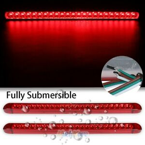2x 17 Truck Trailer Stop Turn Tail Light Bar Led Third Brake Lights Strip Red