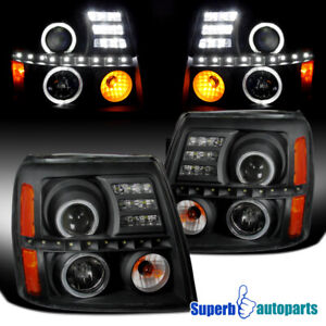 For 2002 2006 Cadillac Escalade Led Drl Halo Projector Headlights Lamps Black