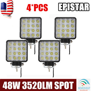 4x 48w 12v24v Led Work Light Spot Light Offroad Driving Suv Truck Tractor Flood