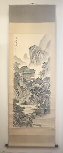 Vintage Antique Chinese Songshan Mountain View Silk Painting Scroll Signed 75