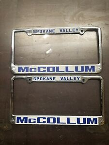 Vintage Mccollum Ford License Plate Frames Metal Pair Honda Spokane Valley Wa