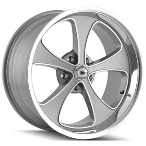 Staggered Ridler 645 Front 18x8 rear 18x9 5 5x127 5x5 0mm Grey Wheels Rims