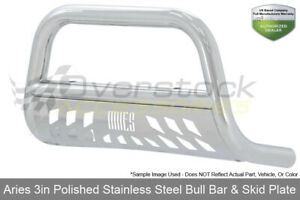 Stainless 3in Bull Bar W Skid Plate Aries Offroad For Titan 04 15 Armada 05 15