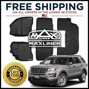 Maxliner Custom 1st 2nd 3rd Row Floor Mats For 2017 2019 Explorer W O Console