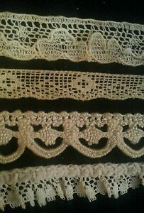 Vintage Lace Trims Lot Dainty Sewing Doll Clothes Remnants Edging