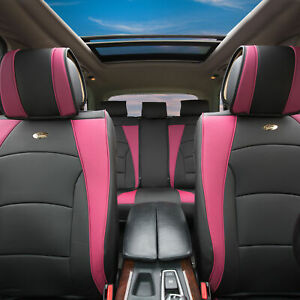 Car Suv Truck Leatherette Seat Cushion Covers Full Set Pink Black