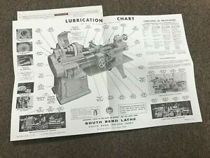 Original South Bend Lathe Heavy 10 13 14 1 2 16 Parts Manual Lube Chart