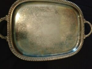 Vintage Silverplate Footed Serving Tray 20x14 Handles