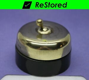 Vintage Dome Toggle Switch Double pole Dpst Brass porcelain Round Hubbell