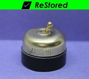 Vintage Dome Toggle Switch Single pole Spst Brass porcelain Round Hubbell