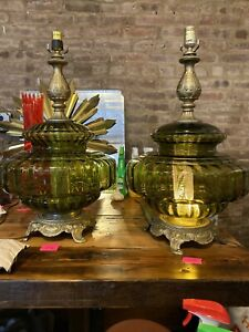 Vintage Table Swag Lamps Antique Green Glass