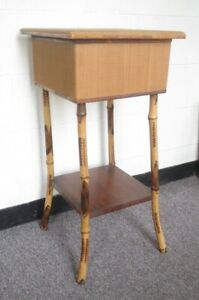 Antique Bamboo Victorian Side Table Sewing Box Stand