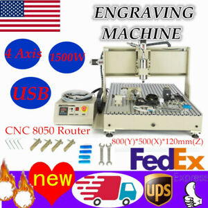 Usb 4axis 8050 Cnc Engraver Milling Carving Machine 3d Diy Woodworking Cutter