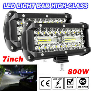 2x7inch 800w Led Work Light Bar Flood Spot Beam Offroad 4wd Suv Driving Fog Lamp