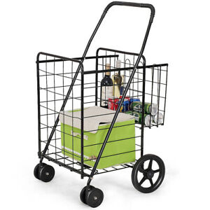 Folding Shopping Cart Jumbo Basket Grocery Laundry Travel Swivel Wheels Utility